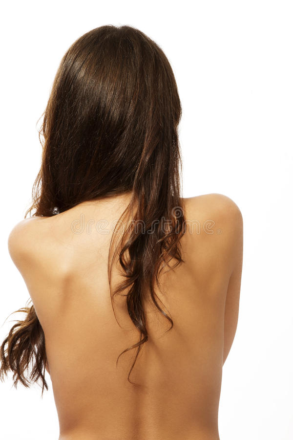 Naked Back Of A Brunette Woman Stock Photo
