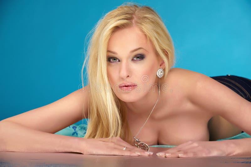 Naked blonde stock photo