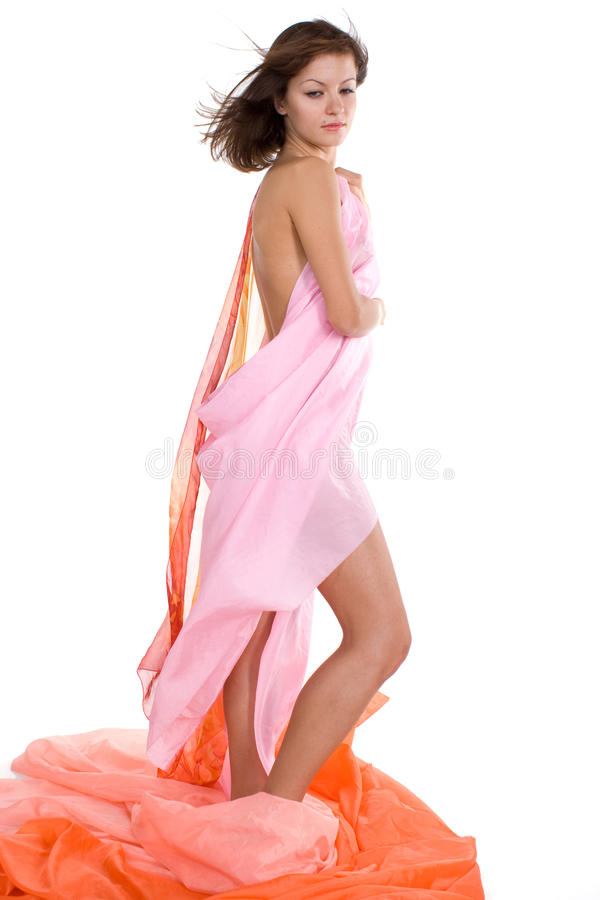 Naked girl in the tissue royalty free stock image