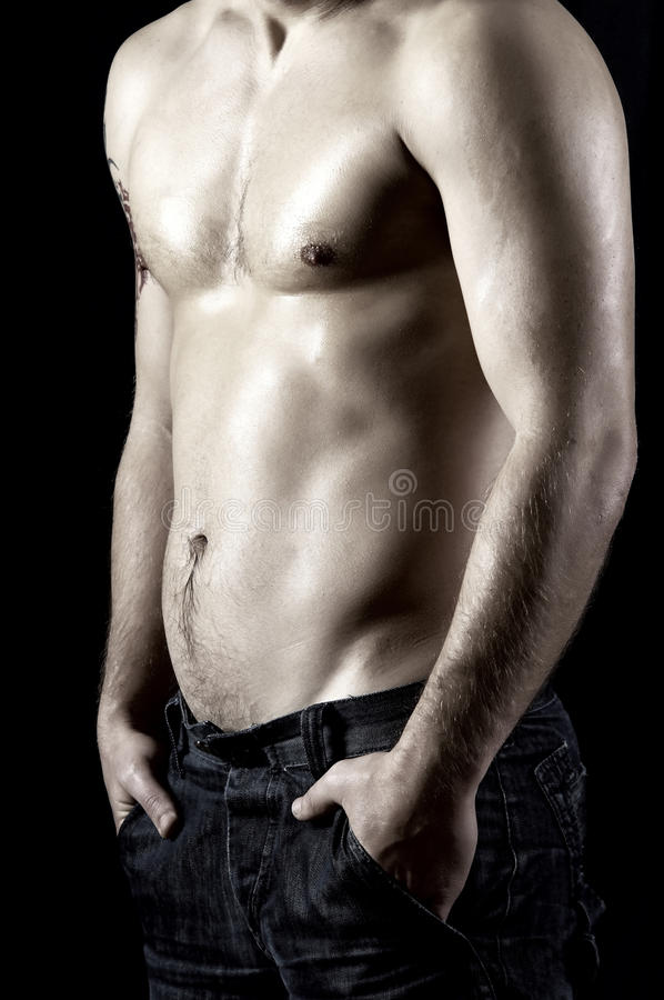 Download Naked male model stock image. Image of jeans, macho, masculinity - 18685251