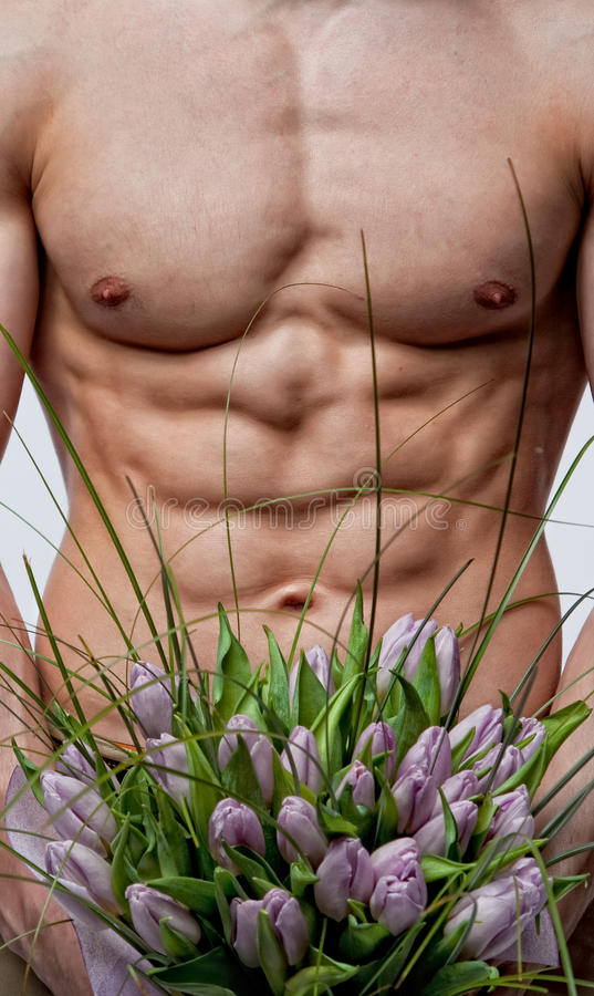 Download Naked Man With Bouquet Of Tulips Stock Image - Image: 18289959