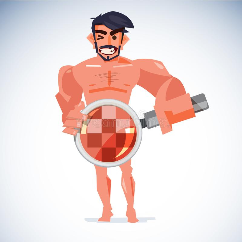 Naked man handling magnifier at his penis with censored skin. he. Althcare for sex or check your penis concept - vector illustration royalty free illustration