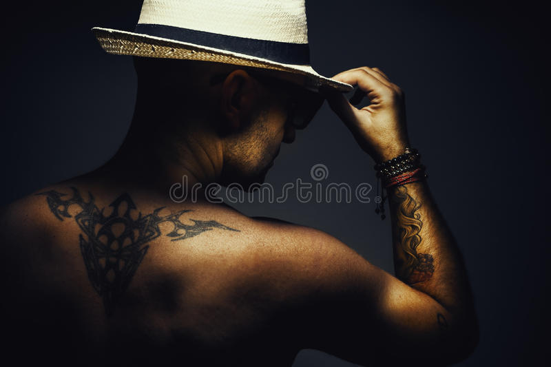 Naked Man With Hat stock images