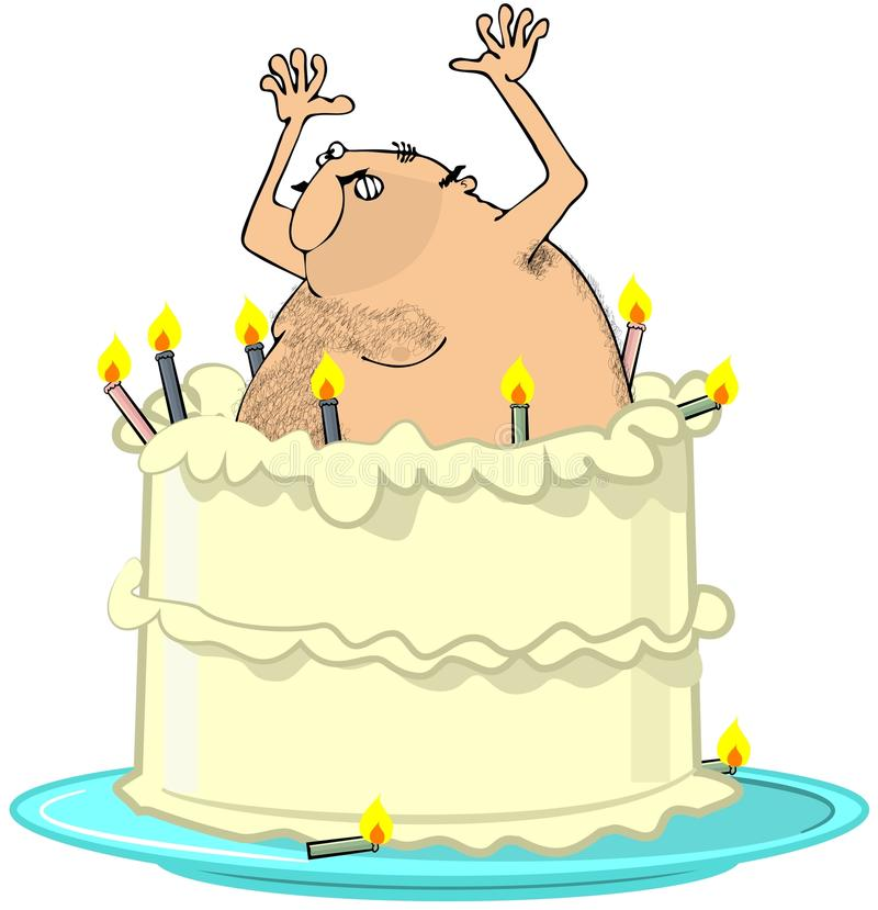 Download Naked Man Jumping From A Cake Stock Illustration - Image: 24731281