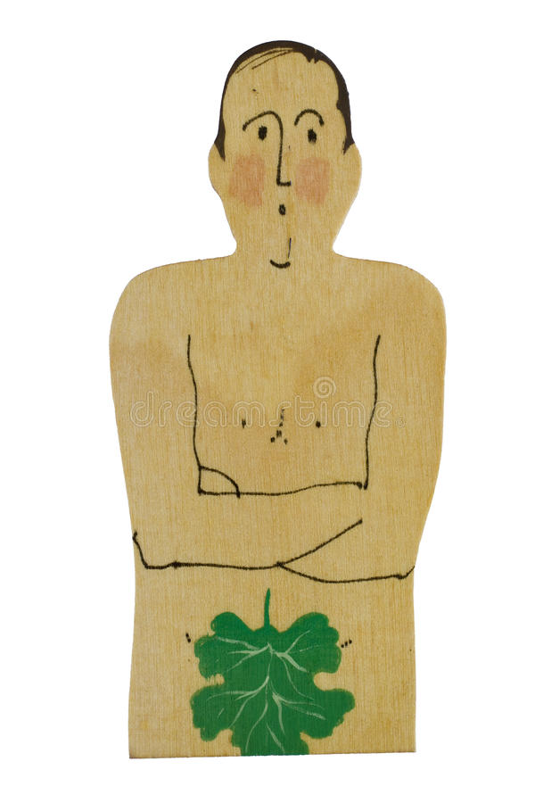 Naked Man with Leaf royalty free stock images