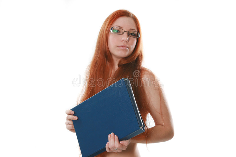 Naked red-haired secretary stock photos