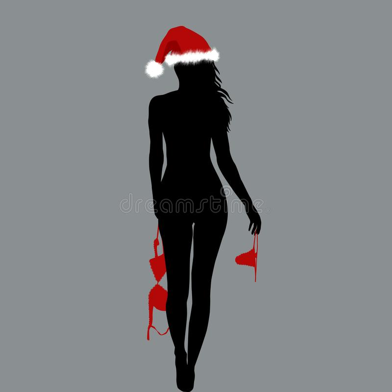 Free Naked Santa Woman Silhouette Holding Her Lingerie In Her Hands Stock Images - 104155104