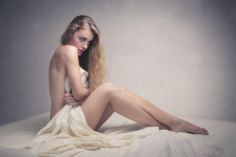 Naked sensual girl stock photo