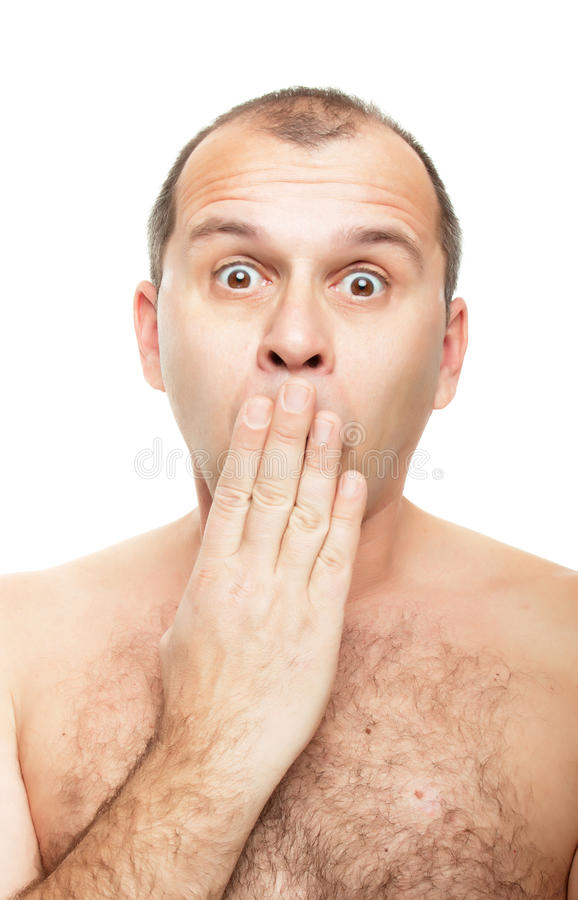 Naked And Surprised Royalty Free Stock Images