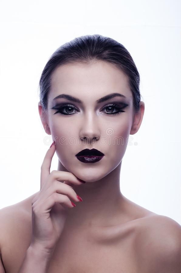 Naked Woman In Black Eyeliner And Maroon Lips Free Public Domain Cc0 Image
