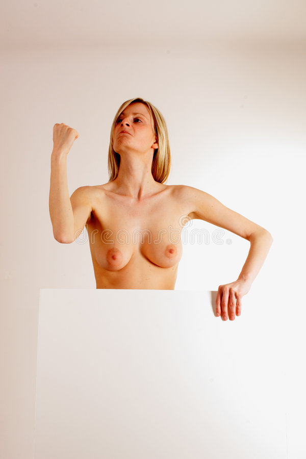 Download Naked Woman With Blank Board 1 Stock Image - Image of blondie, power: 119117