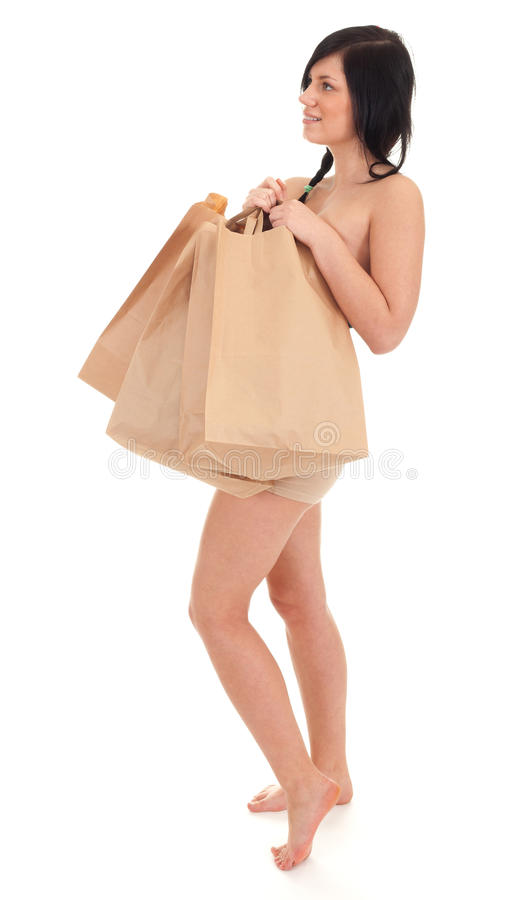 Download Naked Woman Covering By Paper Bags Stock Image - Image of carry, nude: 17296819