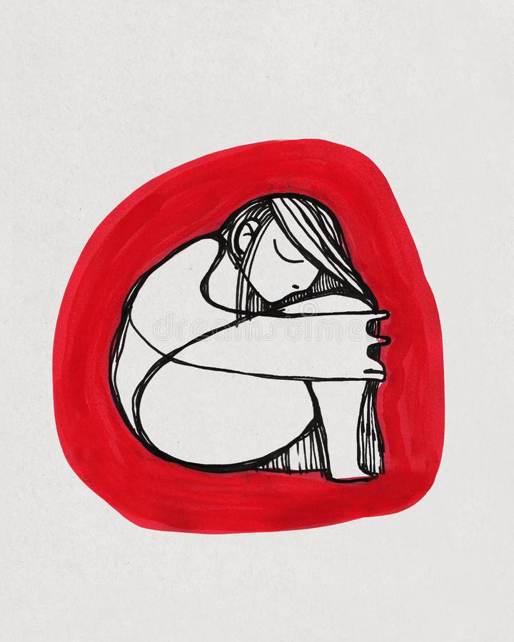 Naked woman in fetal position ink drawing stock illustration