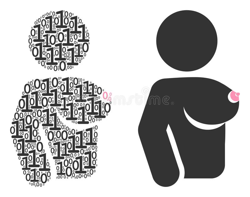 Naked Woman Mosaic of Binary Digits. Naked woman collage icon of zero and null digits in randomized sizes. Vector digit symbols are formed into naked woman vector illustration