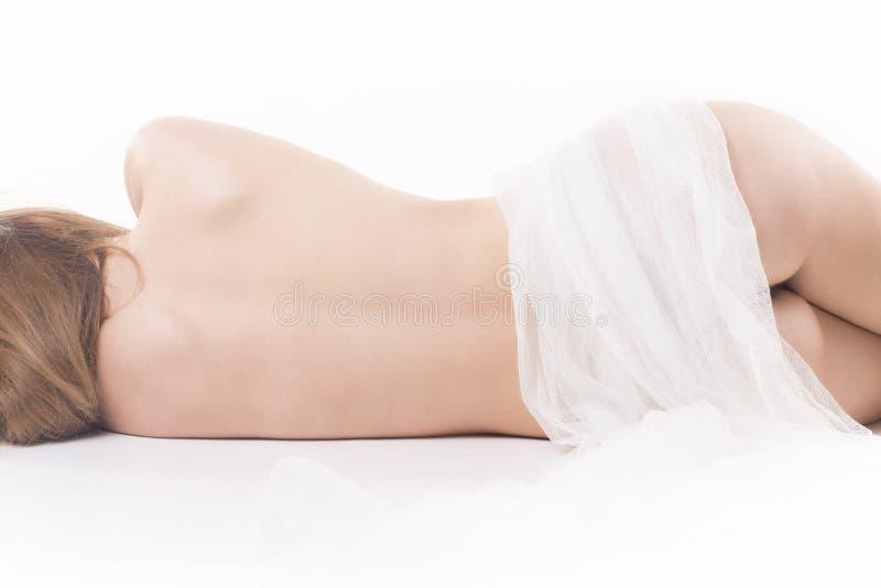 Naked woman sleeping stock photo