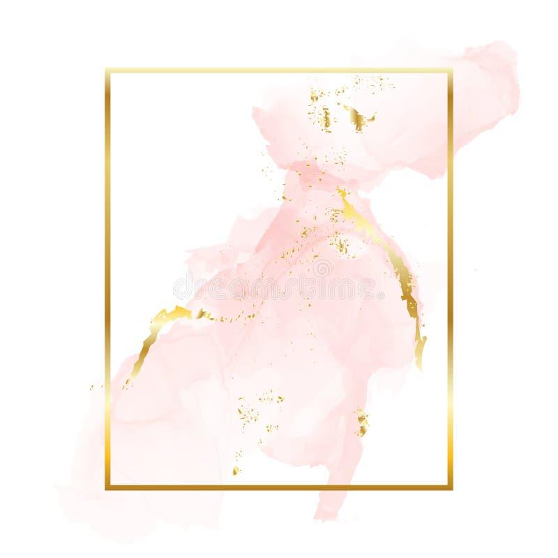Nakenstudie steg guld- borsteslaglängder i ram för rektangelfoliekontur Vattenfärgen steg den guld- rodnadtexturmallen royaltyfri illustrationer