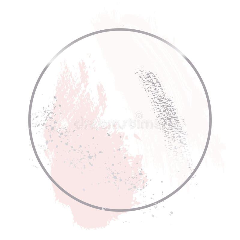 Nakenstudie steg rosa borsteslaglängder med försilvrar blänker ramen för folierundakonturen Hand-dragen abstrakt design stock illustrationer