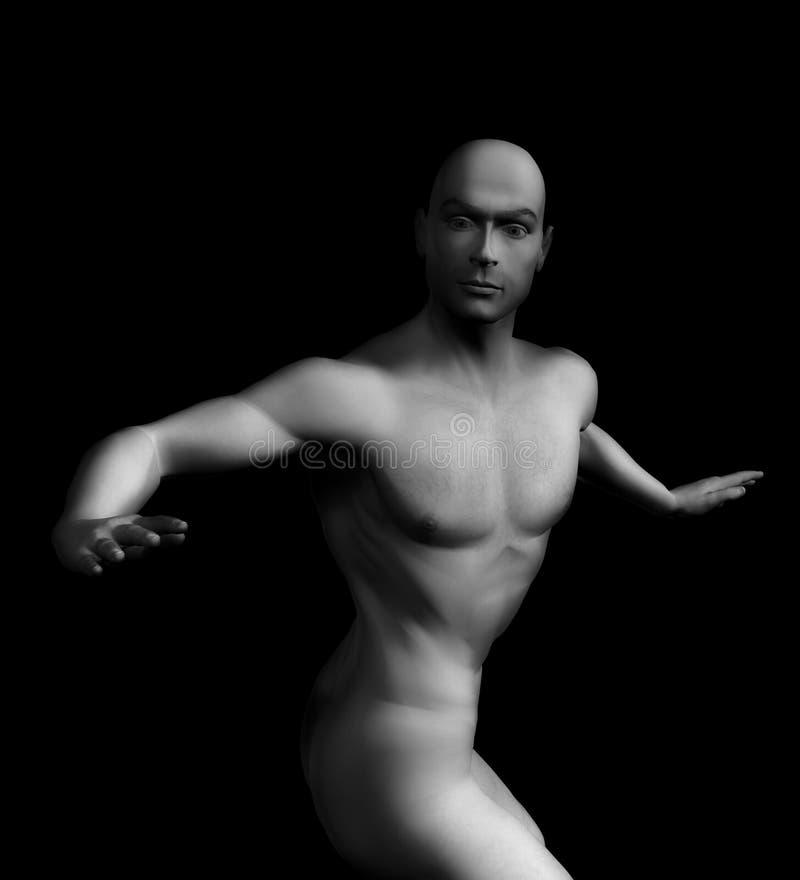 Nakenstudien För Man 3d Framför Fotografering för Bildbyråer