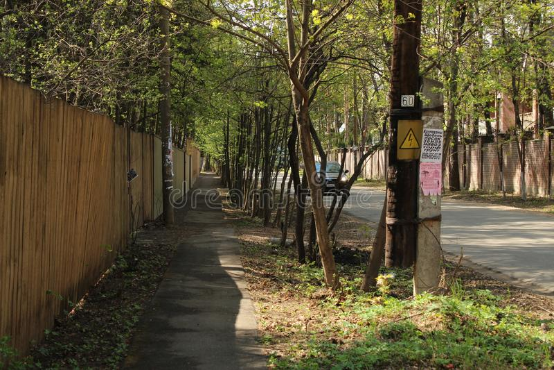 Russia. Moscow Oblast. Korolyov City. Nakhimov street. This is Nakhimov street, Valentinovka district, Korolyov city, Moscow Region, Russian Federation, Europe stock image