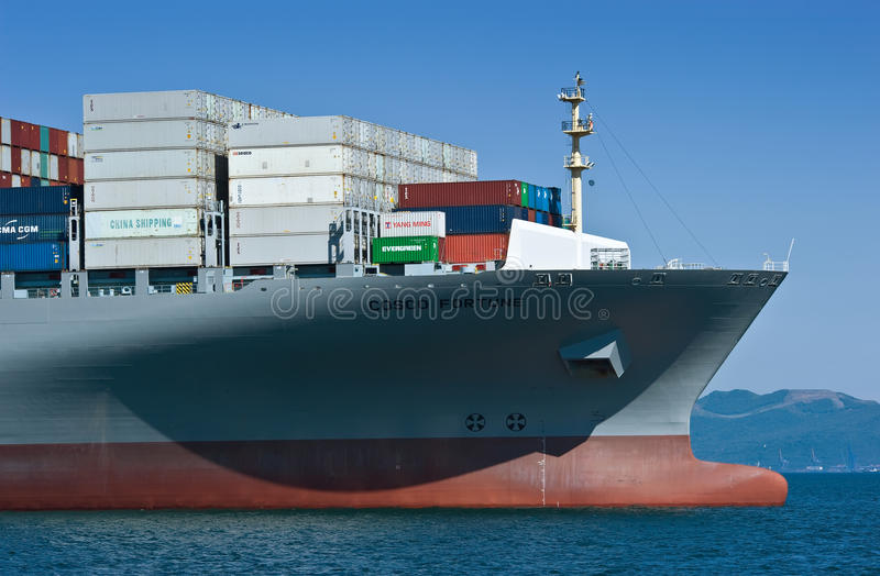 The Bow Of A Huge Container Ship CMA CGM Mississippi At
