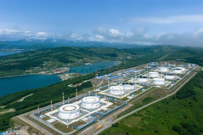 Nakhodka, Russia - July 05, 2019: Oil terminal of the company Transneft royalty free stock photo