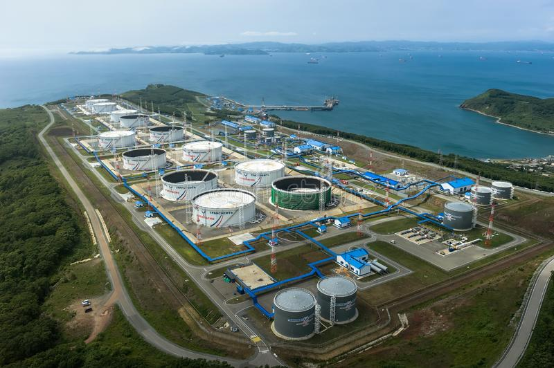 Nakhodka, Russia - July 05, 2019: Oil terminal of the company Transneft stock images