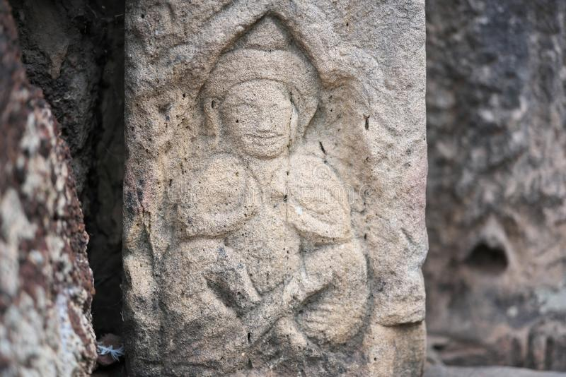 Buddha statue or image at Phimai Historical Park in Buriram, Thailand. Nakhon Ratchasima,Thailand-December 8, 2019:  Buddha statue or image at Phimai Historical royalty free stock photos