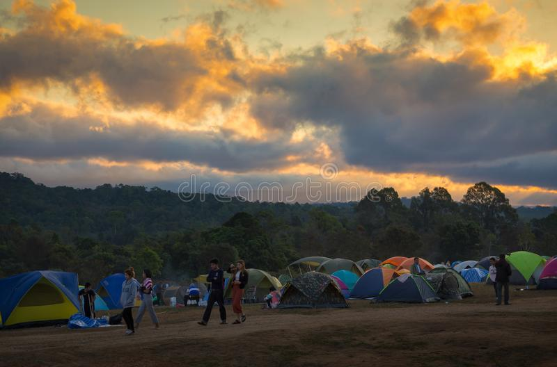 Nakhon Ratchasima,Thailand-December 31,2017:Morning sunrise,People come to relax on holiday,Tourist camping in the Khao Yai stock image