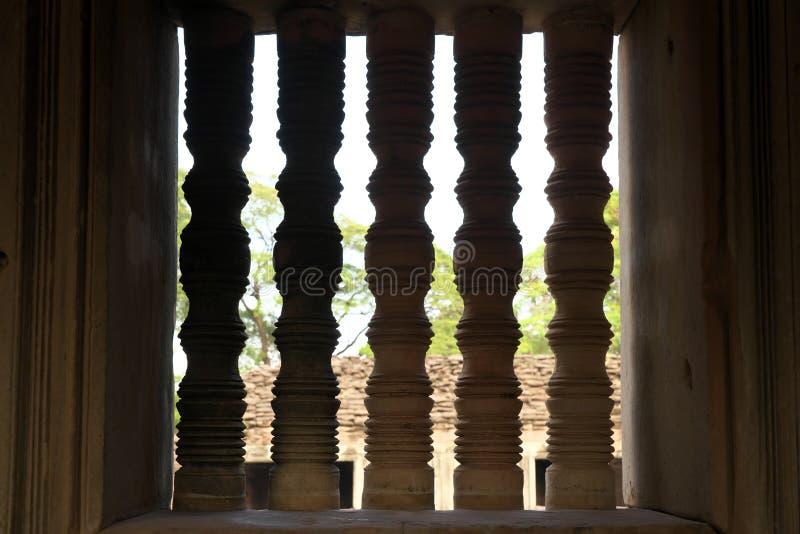 Stone pillars at Phimai Historical Park in Buriram, Thailand. Nakhon Ratchasima,Thailand-December 8, 2019:  Stone pillars at Phimai Historical Park in Buriram stock image