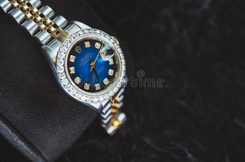 NAKHON RATCHASIMA, THAILAND - JULY 31, 2018 : Rolex oyster perpetual Date just with diamond watch royalty free stock images