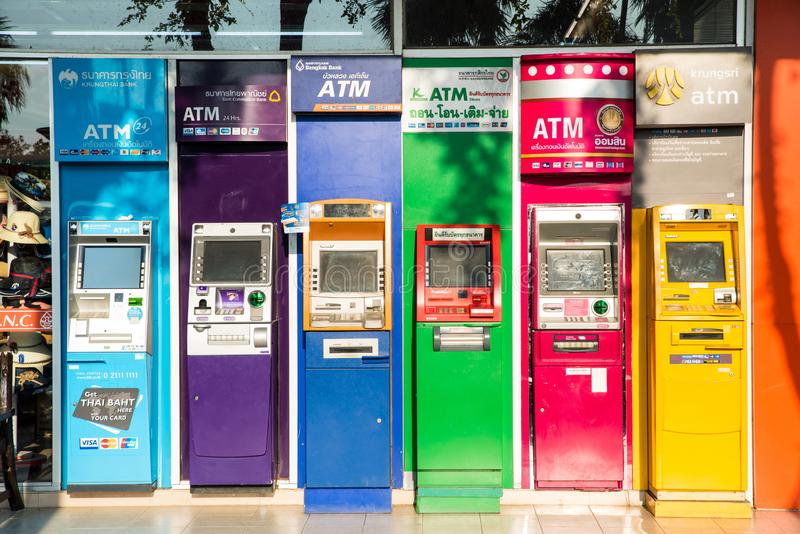 Nakhon Ratchasima, Thailand - October 10, 2018: Outdoor ATM cash royalty free stock image