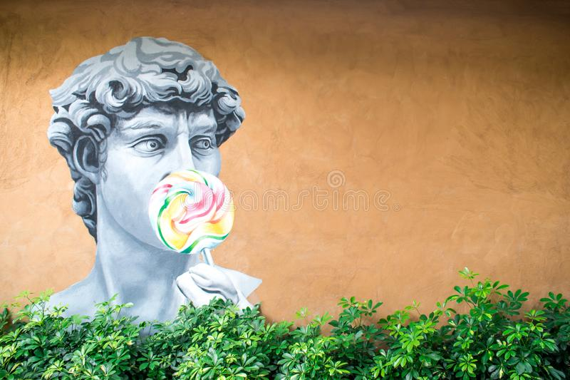 Nakhon Ratchasima, Thailand 28 September 2019: Wall Art Paintings with copy space royalty free stock image