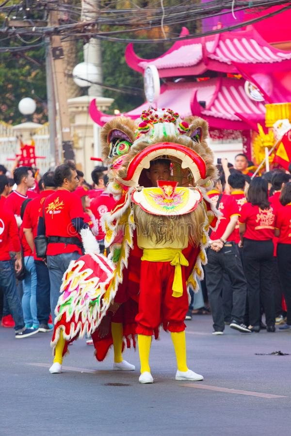 NAKHON SAWAN, THAILAND - FEBRUARY 8 : unidentified asian man in dancing lion in Chinese New Year festival on February 8, 2019 in stock images