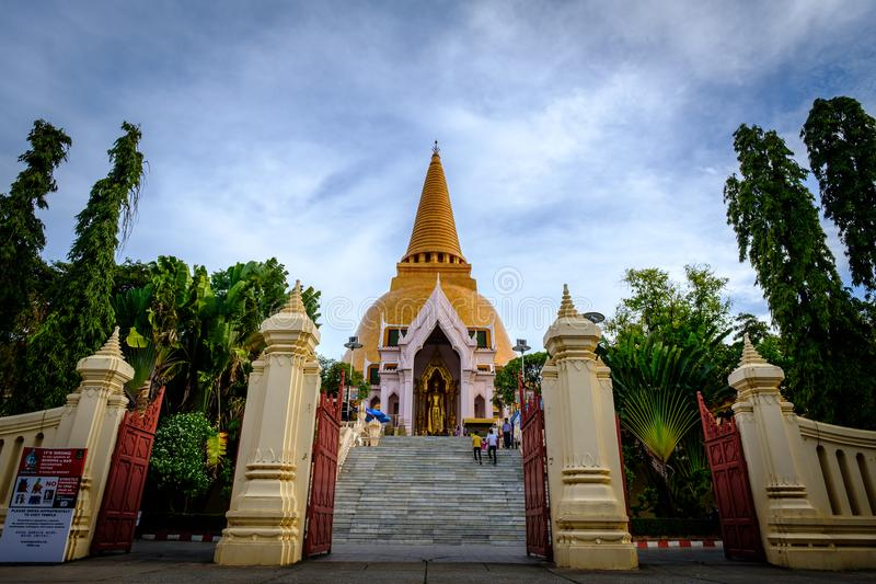 NAKHONPATHOM, THAILAND, 26 Sep 2017 , Wat Phra Pathom Chedi Sanctuary is a vital part Temple of Thailand view point from train st. Ation royalty free stock images