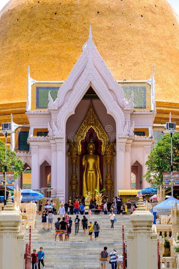 NAKHONPATHOM, THAILAND, 24 Sep 2017 , Wat Phra Pathom Chedi Sanctuary is a vital part Temple of Thailand view point from train st. Ation royalty free stock photography