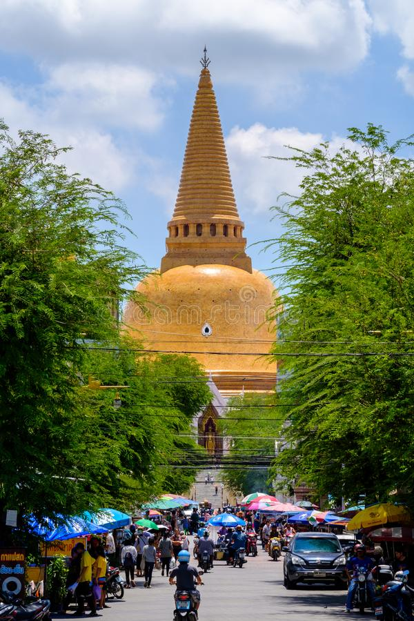 NAKHONPATHOM, THAILAND, 26 Sep 2017 , Wat Phra Pathom Chedi Sanctuary is a vital part Temple of Thailand view point from train st. Ation royalty free stock photography