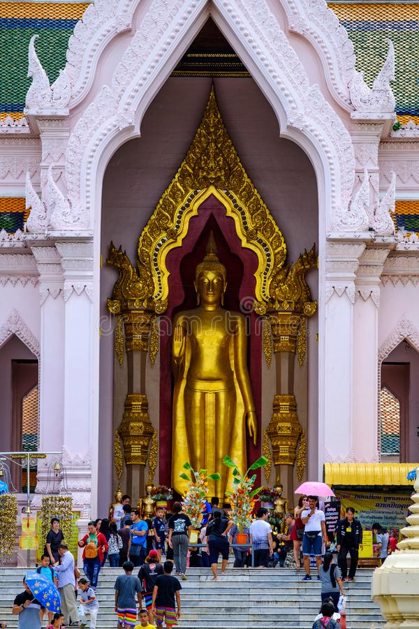 NAKHONPATHOM, THAILAND, 24 Sep 2017 , Wat Phra Pathom Chedi Sanctuary is a vital part Temple of Thailand view point from train st. Ation stock images