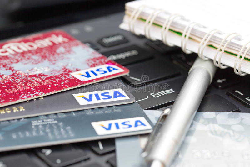 Nakhonratchasima, THAILAND - August 1, 2015 : Credit card VISA b. Rand with pen on keyboard royalty free stock image