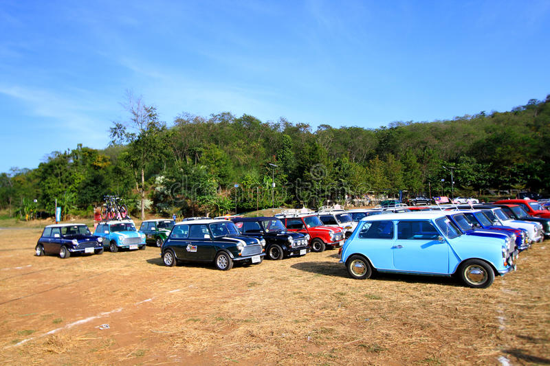 Nakhonratchasima, Thailand - December 20, 2014: Many Classic Austin Mini Cooper at Mini Mountain Festival of Thailand mini family. Nakhonratchasima, Thailand royalty free stock photos