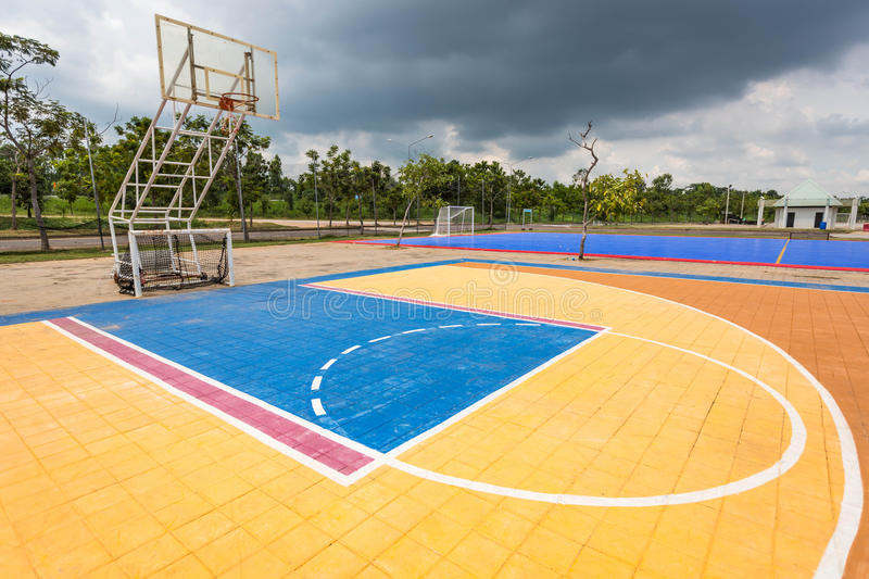 Nakhonratchasima, THAILAND September 29, 2015 : Outdoor street b. Asketball court royalty free stock photo