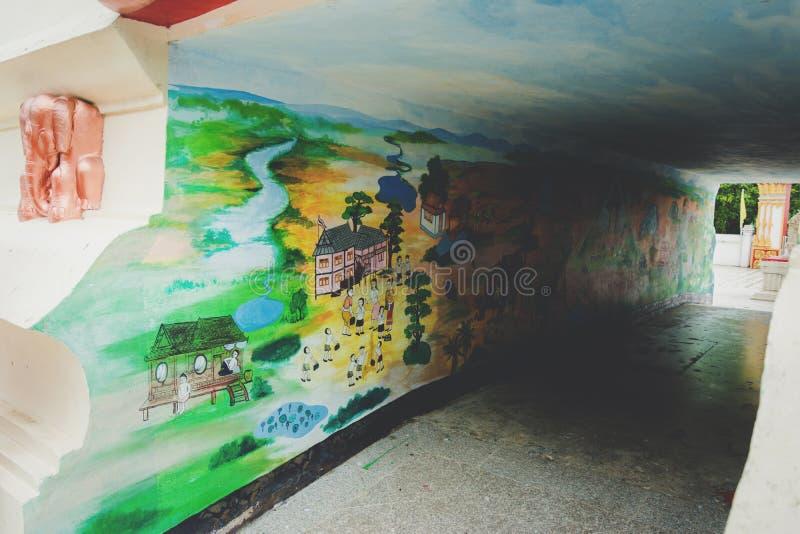 """Nakhonsan, †de TAILÂNDIA """"29 de maio de 2017: pinturas murais na parede o fotos de stock"""