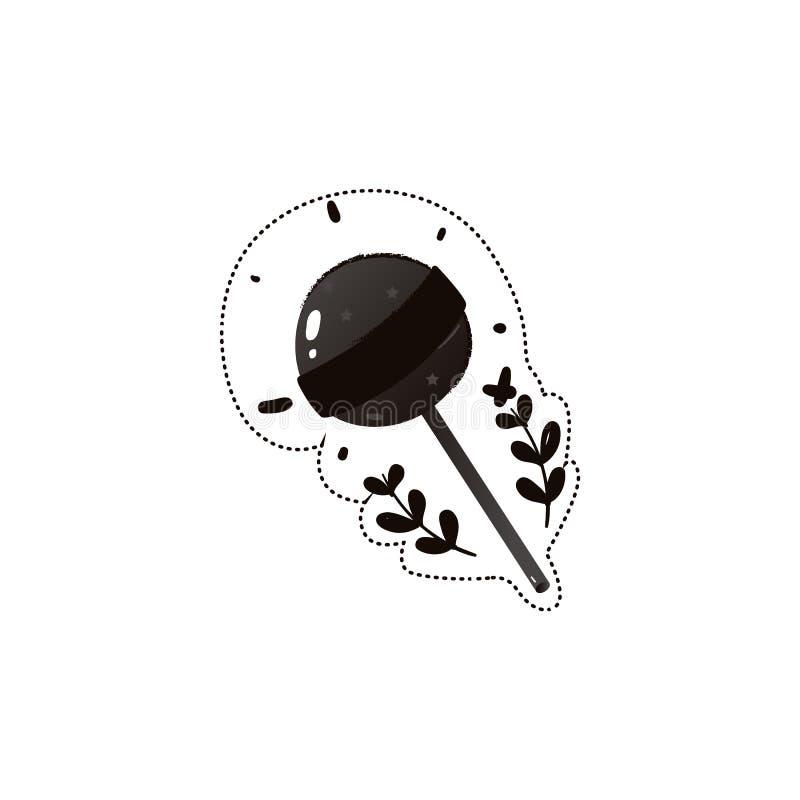 Naklejka na czarny lizak lub cukierki, wyizolowany wektorowy rysunek narysowany rÄ™cznie royalty ilustracja
