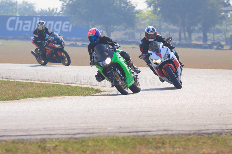 NAKORNPATHOM THAILAND- February 7- sport biker practice to riding superbike in sport racing track in nakornpathom thailand on feb royalty free stock image