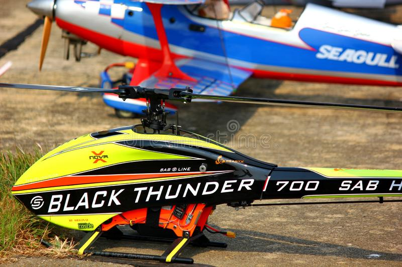 NAKORNPATHOM,THAILAND-12 JANUARY ;2019:Thai children Day has radio control plane and helicopter show . royalty free stock photos