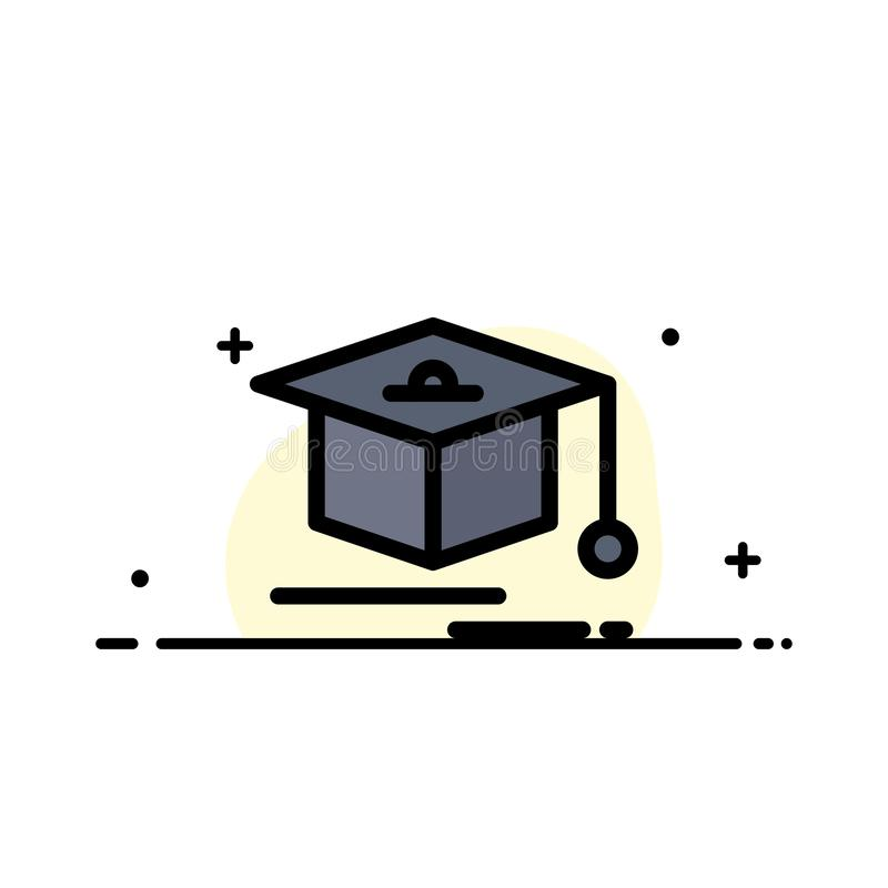 Nakrętka, edukacja, skalowania mieszkania ikony sztandaru Biznesowa linia Wypełniający Wektorowy szablon ilustracji