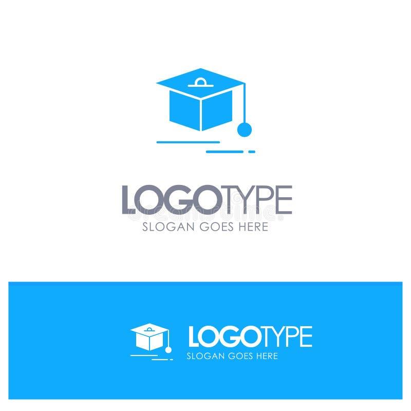 Nakrętka, edukacja, skalowanie Błękitny Stały logo z miejscem dla tagline ilustracji