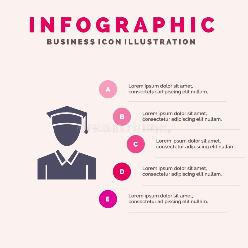 Nakrętka, edukacja, skalowanie ikony Infographics 5 kroków prezentacji Stały tło ilustracja wektor