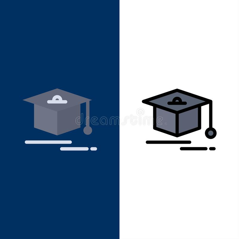 Nakrętka, edukacja, skalowanie ikony Mieszkanie i linia Wypełniający ikony Ustalony Wektorowy Błękitny tło royalty ilustracja