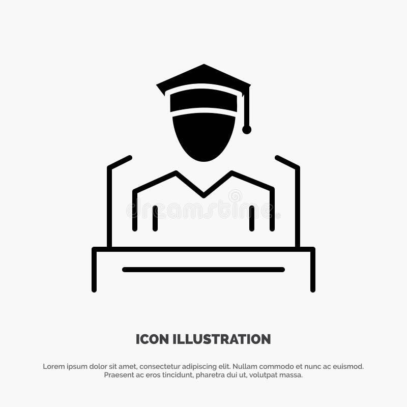 Nakrętka, edukacja, skalowanie, mowa glifu ikony stały wektor ilustracji