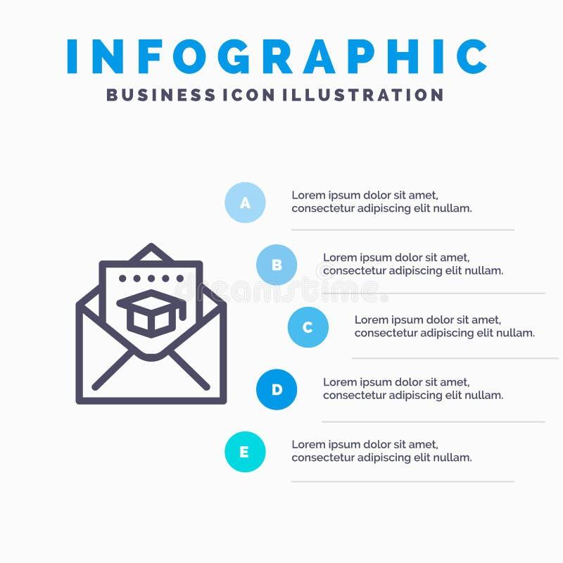 Nakrętka, edukacja, skalowanie, poczty Kreskowa ikona z 5 kroków prezentacji infographics tłem ilustracja wektor